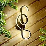Ahageek Lámpara de pared con nota musical, lámpara de pared de cabecera de...