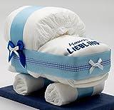 Windeltorten-Welt Kleine Windeltorte/Windelwagen blau für Jungen - mit Lätzchen