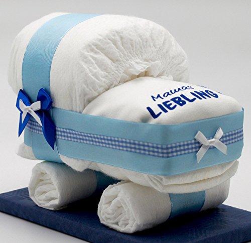 """Windeltorten-Welt Kleine Windeltorte/Windelwagen blau für Jungen - mit Lätzchen""""Mamas Liebling"""" - das perfekte Geschenk zur Geburt oder Taufe + gratis Klappkarte"""