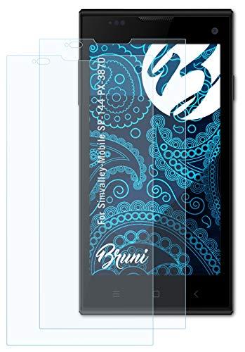 Bruni Schutzfolie kompatibel mit Simvalley-Mobile SP-144 PX-3870 Folie, glasklare Bildschirmschutzfolie (2X)