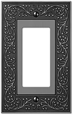 Amerelle English Garden Single Rocker Cast Metal Wallplate in Antique Nickel