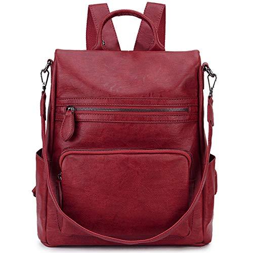 Zaino Donna,Antifurto Borsa Zaino Zainetto in Pelle PU Zaino alla Moda con Tracolla Casuale Daypack Borse a Mano Backpack Daypack per Scuola Viaggio (Rosso)