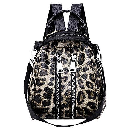 HCFKJ👜 Tasche, Frauen Mädchen Leder Leopardenmuster Schultasche Rucksack Satchel Reise Umhängetasche (BW)