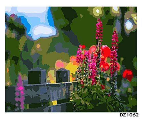 Jinaomy DIY Ölgemälde für Erwachsene Kinder Malen Nach Zahlen Enthält Acrylfarben und 3 Pinsel Leinwand Kunst Dekoration Ohne Rahmen 16x20 Zoll / 40x50 cm Zaun der Blumen