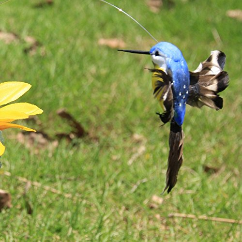 UIYU Fliegender Kolibri, lebensechte solarbetriebene und batteriebetriebene fliegende Wackel, flatternde Kolibri-Vögel für Outdoor-Dekoration (zufällige Auswahl).