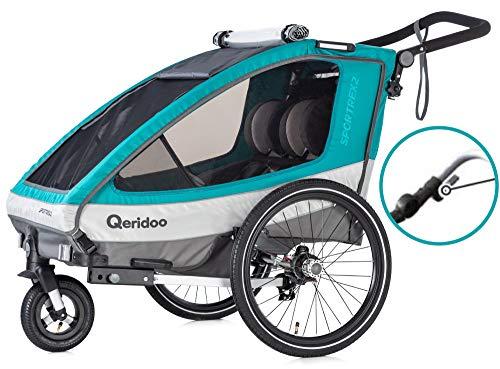 Qeridoo Sportrex2 Aquamarin Kinderanhänger 2019 aquamarin türkis mit Federung für zwei Kinder E-Bike geeignet mit Parkhandbremse