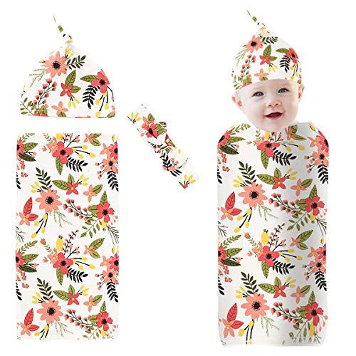Josopa 3 Pcs Nouveau-Né Bébé Swaddle Couverture avec Bonnet Bandeau Ensemble Floral Doux Coton Nourrissons Wrap pour 0-3 Mois Bébés