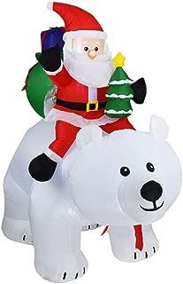HOBBMS Christmas Inflatable Polar Bear Santa Claus Riding Polar Bear Inflatable Shaking Head Doll Suitable for Christmas Halloween, Lawn Garden Party, Birthday Party Outdoor Activities