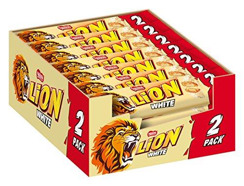 Nestlé LION White, Schokoriegel mit weißer Glasur, leckerer Karamell-Füllung und knuspriger Waffel, Süßigkeiten Großpackung, 28er Pack (à 2 x 30g)