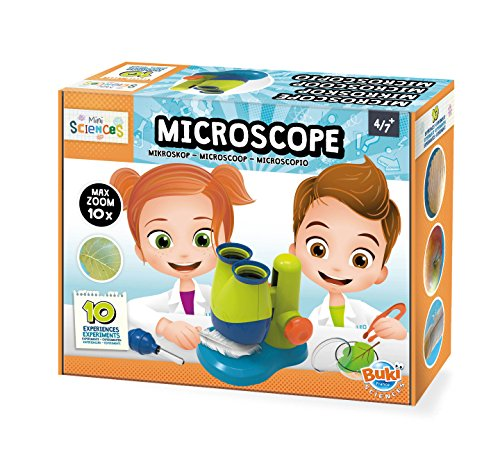 Buki Mini Sciences Children's First Basic Toy Microscope 10X Magnification Lab Science Kit for Kids Age 4 to 8