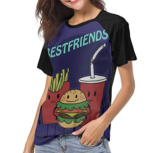 Ygoner Women's Short Sleeve T-Shirt Bestfriends Women's Personalized Baseball Raglan Short Sleeves T Shirt