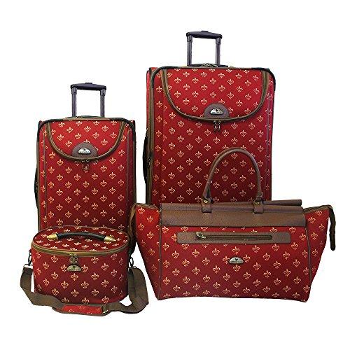 American Flyer Luggage Fleur De Lis 4 Piece Set, Red, One Size