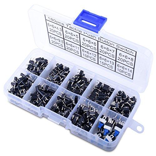 180Pcs Táctil Empujar Interruptor de Botón Micro MomentáneoTact Assortment Kit-4 Pin /10 valor LP12