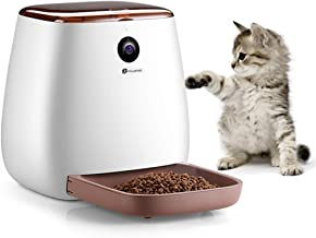 Houzetek Automatic Pet Feeder Dog Dispenser, Cat Food Dispenser with Voice Recording, Features Distribution Alarms, Portion Control and Timer Programmable, Wi-Fi Enabled App for Smartphone