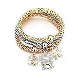 3Pcs Tree Of Life Bracelet Popcorn Owl Heart Anchor Musical Note Charm Bracelets For Women Pulseria Feminina Love Boy Girl