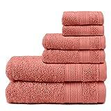 TRIDENT Juego Toallas - Soft & Plush - 100% algodón, 500 gsm, 6 Pieza Juego Toallas - 2 Toallas de baño, 2 Toallas de Mano, 2 paño de Lavado, súper Absorbente (Coral Haze)