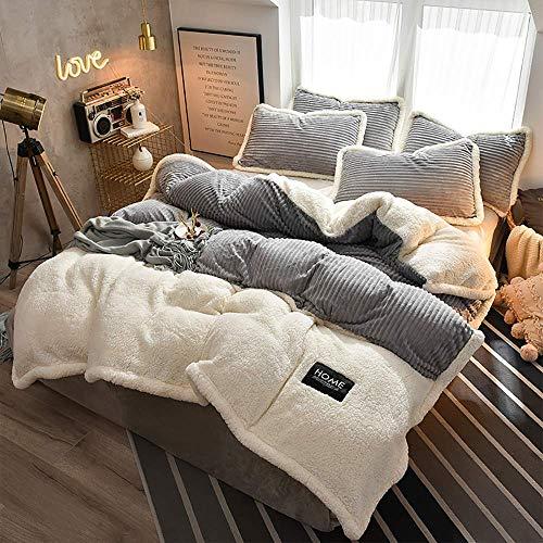 Juegos de ropa de cama Queen King Size, juego de fundas de edredón doble, funda de edredón, forro polar, cama gris, forro polar, juego de invierno, sábana plana, sábana plana, súper suave, cálido, gr