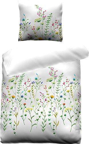 jilda-tex Bettwäsche Satin-Bettwäsche Satinbaumwolle Ökotex-100 135x200 cm + 80x80 cm 100{b8faaa22b23f6d21c34a4408e1f07faab51cfa9a379e8a37f0f80b2bfeb948a4} Baumwolle mit Reißverschluss Blumen Floral (Wild Flowers, 135 x 200 cm)