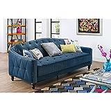 Novogratz Vintage Tufted Sofa Sleeper II- Blue Velvet