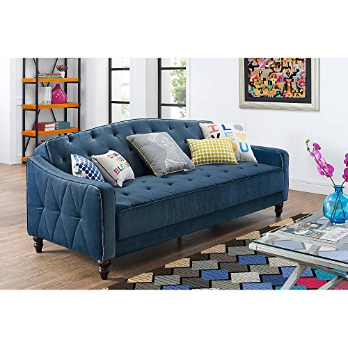 Novogratz Vintage Tufted Sofa Sleeper II- Blue Velvet