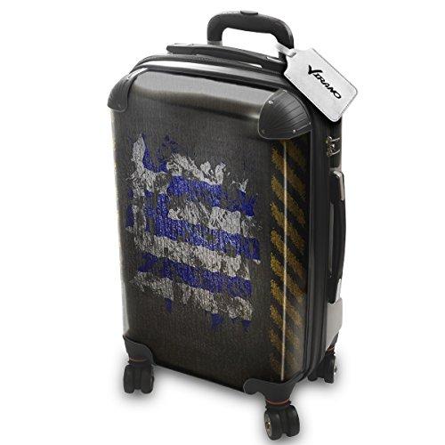 Bandera Pintada Grecia, Policarbonato ABS Spinner Trolley Luggage Maleta Rigida Equipaje con 4 Ruedas de 360° con Diseño Intercambiable. Tamaño: Aprobado cabina S