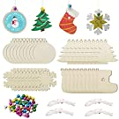 40PCS Unfinished Wooden Christmas Ornaments Unfinished Wood Ornaments Christmas Bulk with 40PCS Colorful Bells and 40PCS Wax Rope for Holiday Decoration and DIY Craft Making