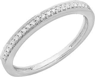 Dazzlingrock Collection 0.10 Carat (ctw) 14K Gold Round White Diamond Wedding Anniversary Stackable Band Ring 1/10 CT