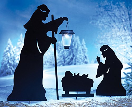 Collections Etc Outdoor Solar Christmas Decorations, Nativity Shadow with LED Lighted Lantern, Garden Stakes, Set of 3