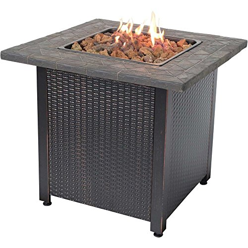 Endless Summer GAD1401M LP Gas Table Outdoor Fire Pit with Tile Mantel and Lava Rock, Fireplace, Brown