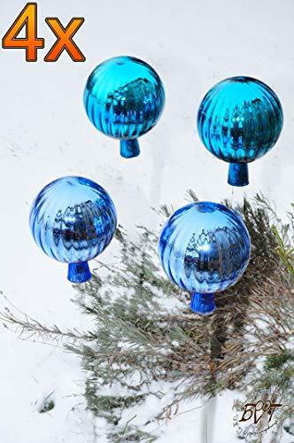 4 x Gartenkugel ca. 25 cm gross Form Kugel, klassische Kugelform handgefertigt türkis & hellblau Rosenkugel gartenkugeln, Sonnenfänger-Kugel, Sonnenfänger-Scheibe, Sonnenfängerscheiben, Gartendeko