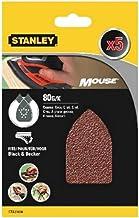 Stanley STA31004-XJ schuurpapier (korrel K80, grof korrel, met klittenband-fix, geschikt voor Black+Decker compacte muis),...
