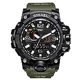 SMAELBand Hombres Reloj Militar Reloj de Pulsera Resistente al Agua 50m Reloj Deportivo de Cuarzo LED Hombre Deporte Reloj Hombres s Shock,Armygreen