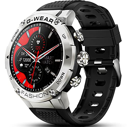 GaWear Reloj Inteligente Hombre,smartwatch 1.32' Pantalla Táctil Completo Reloj Inteligente Impermeable 5ATM Pulsómetro, Monitor de Sueño, Notificaciones Inteligentes, para Android iOS(Plata)
