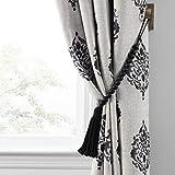Elrene Home Fashions Nomad Decorative Wooden Fringe Tassel Window Curtain Tieback, Black