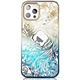 KINGXBAR Luxury Series Case Clear Protective Cover with Bling Crystals from Austria Compatible with Apple iPhone 12 Pro Max, 6.7 inch, Shockproof Glitter Gold Plated Hard PC Skin Covers for Women