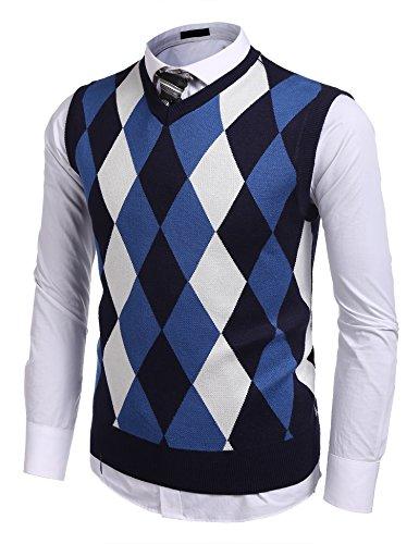 COOFANDY Herren Pullunder Strickweste V-Ausschnitt Karo Knit Strick Vest Ärmellos Casual Business Elegenz Gilet für Männer