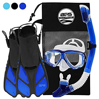 BPS Full Snorkeling Gear Set - Dive Mask, Snorkel Tube, and Swim Fins with Mesh Bag - L/XL, Blue
