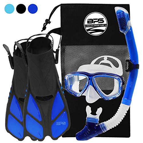 BPS Full Snorkeling Gear Set - Dive Mask, Snorkel Tube, and Swim Fins with Mesh Bag - XXS/XS, Blue