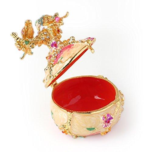 Rare Hand Printed Vintage Style Love Bird Colorful Rhinestone Jewerly Trinket Box / Faberge Egg