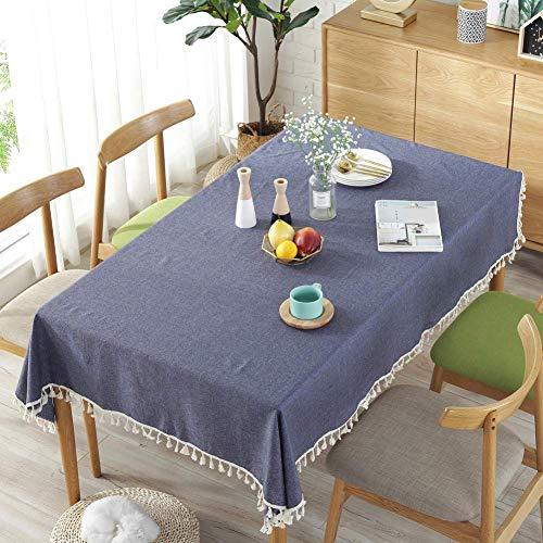 mxjxj Tischdecke Massivfarbe Quaste Tischdecken Rechteckiger Tischdecke Baumwolltischabdeckung Mehrzweck-Innen- und Außenbereich (Color : Navy, Size : 120+#215;160cm)