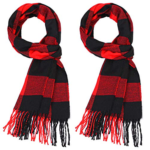 URATOT 2 Pack Winter Plaid Scarves Unisex Soft Cashmere Feel Shawls Scarves for Kids or Adult (Color B, 32 x 190 cm/12.6 x 75 inches)