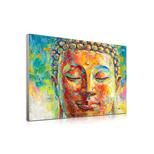 Blue and Golden Buddha Decor Wall Art in Meditation Colorful Buddha Head Portrait Abstract Zen Painting Modern Canvas Posters Prints for Bathroom Yoga Bedroom Decoration Wall Murals 16'x12'