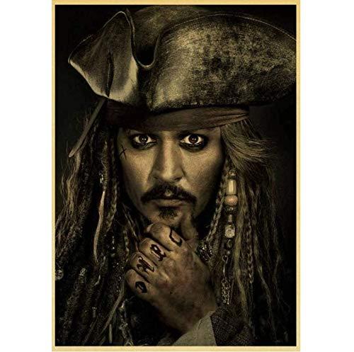 baiyinlongshop Cartel De La Lona Piratas del Caribe Capitán Jack Sparrow Actor Johnny Depp Cartel Pintura Decorativa para El Hogar Etiqueta De La Pared 50X70Cm Sin Marco