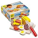 Erzi 28205 Schneidset Belegte Brote aus Holz, Kaufladenartikel für Kinder, Rollenspiele