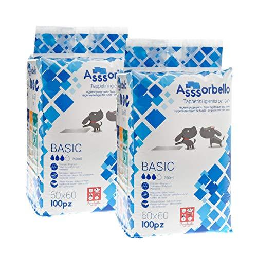Ferribiella Assorbello BasicTappetini igiene per cane, 2 x 100 pezzi, 60 x 60 cm