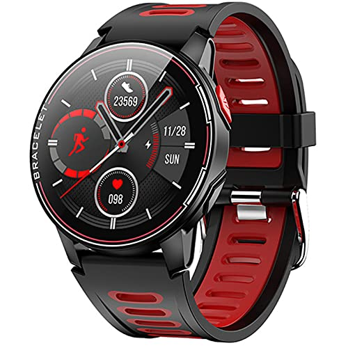 Smart Watch IP68 Impermeable Ejercicio Fitness Rastro Heart Rase Tracker Men Smart Watch Function L6 para iOS Android,A