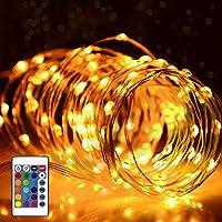 イルミネーションライト フェアリーライト電飾led 50電球 5M 電池式 IP65防水 調光可能 リモコン付属 屋内・屋外兼用 クリスマス/ハロウィン/パーティー/バレンタインデー/ 贈り物 (銅線)