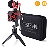 Smartphone Camera Video Microphone with Mini Tripod, Videomicro and Shotgun Microphone for iPhone 6, 6S, 7, 8, 11 X, XR, XS Max Samsung Google-Perfect Vlog, YouTube, Asmr Mic -Perfect Video Kit