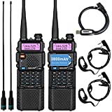 TIDRADIO UV-5R Ham Radio Handheld Two Way Radio with 3800mAh Extended Battery TD-771 Antenna Earpiece and Programming Cable (A Set of 2 Pack)