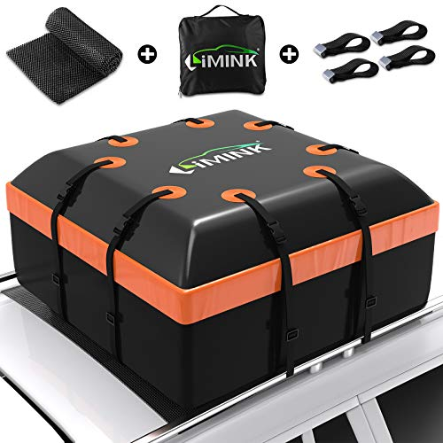 LIMINK Car Roof Bag Cargo Carrier, 15 Cubic Feet Waterproof & Coated Zipper Rooftop Bag with Anti-Slip Mat + 8 Adjustable Reinforced Straps + 4 Door Hooks, Suitable for All Cars with/Without Rack